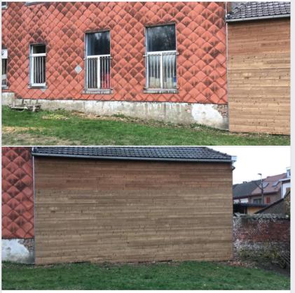 La réparation du mur de l'école